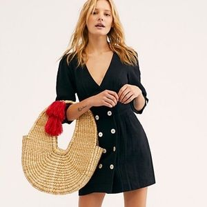 Free People Black Double Breasted Madeline Dress